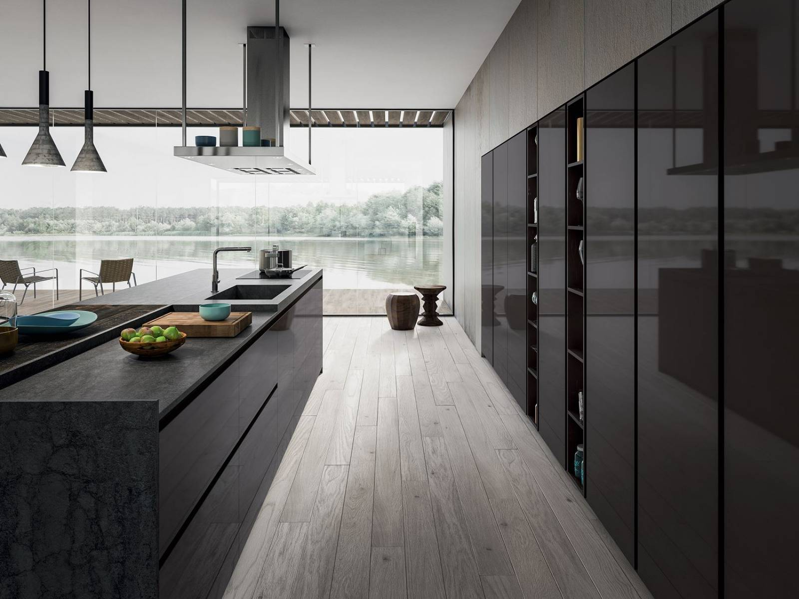 cuisine italienne moderne en laqu brillant design cuisines. Black Bedroom Furniture Sets. Home Design Ideas