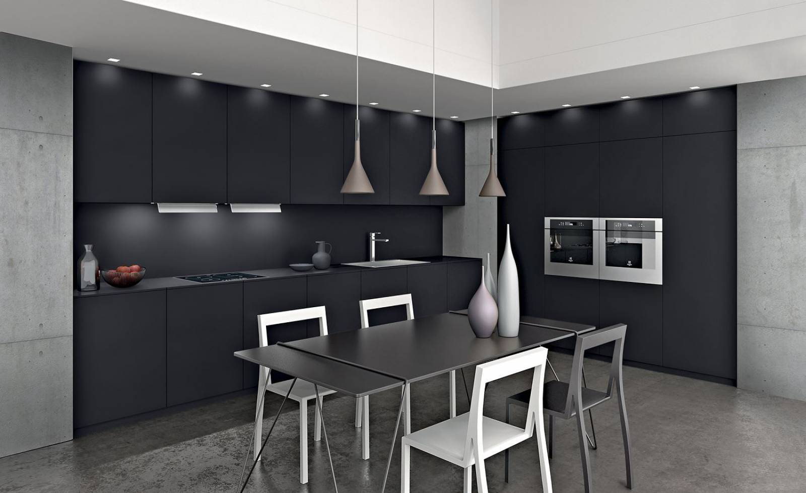 cuisine sur mesure avec plan de travail stratifi pierre. Black Bedroom Furniture Sets. Home Design Ideas